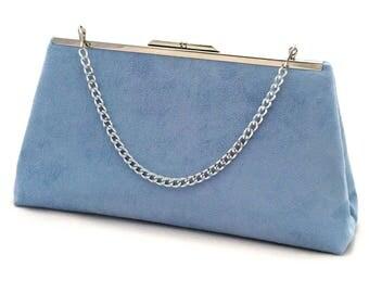 Blue Suede Handbag ~ Light Blue Purse ~ Blue Suede Evening Handbag