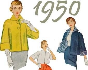 "1950s Jacket Pattern Reversible Jacket SIMPLICITY 3451 bust 32"" Crop Jacket 50s Pattern Box Jacket Loose Fitting Jacket Three Quarter Sleeve"