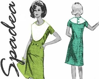 """1960s Dress Pattern Detachable Collar Bib Collar Dress SPADEA Designer Pattern NS-406 bust 34"""" Platter Collar A-line Dress Shift Dress"""