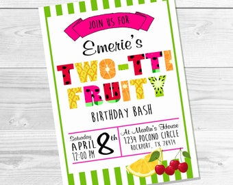 Two-tti Fruity Birthday Bash, Printable Birthday Invitations, Tutti-Fruity
