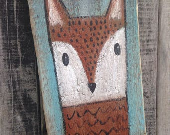 Foxy fox whimsical folk art painting on reclaimed wood rustic wall art ooak original outsider Artist A. Gambrel woodland