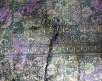 cotton stretch lycra patterned beige purple gold