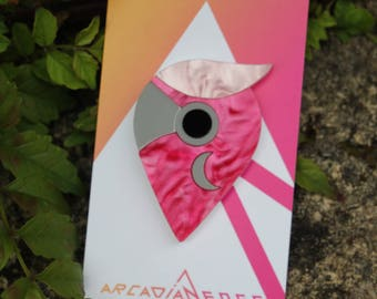 Galah Parrot Bird Acrylic Brooch - handmade abstract laser cut plastic pin