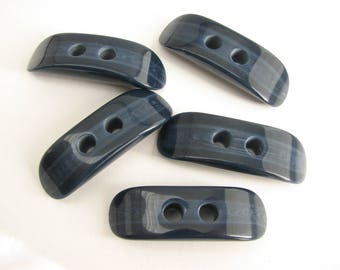 5 blue toggles, plastic toggle buttons with flat side, 45 mm, unused!!
