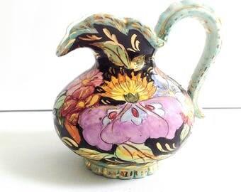 french vintage ceramic pitcher, mid century vase, 1950's, kitsch vase