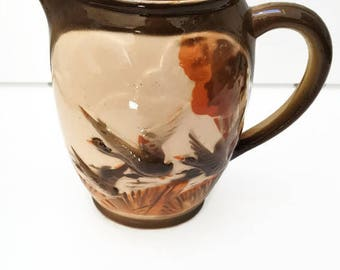 vintage french St Clement majolica pitcher, wild ducks pattern