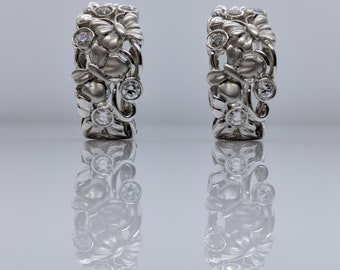 """18K White Gold Earrings Garden-Motif Design """"Final Sale"""""""