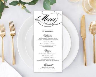 Wedding Menu, Custom Printable Menu, Black and White, Free Colour Changes, DIY Wedding, Print Your Own, Calligraphy Suite