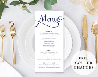 Wedding Menu, Custom Printable Menu, Navy Blue and White, Free Colour Changes, Kraft Menu, DIY Wedding, Corporate Menu, Jaclyn Suite