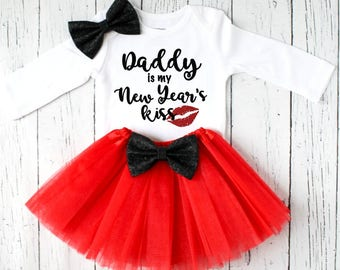 daddy is my New Years kiss - baby girl New Years outfit - toddler girls New Years outfit - girls New Years outfit - New Years outfit - NYE8
