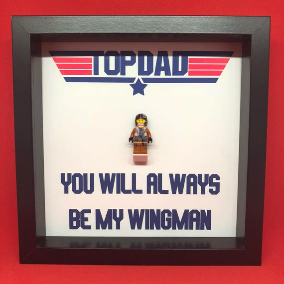 Top Gun Fathers Day Minifigure Frame, Mum, Gift, Geek, Box Frame, Friends, Dad, Idea, Framed, Birthday, For Him, Frame, Frames