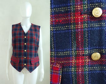 tartan wool vest size medium, plaid button down vest, 80s womens vest, 1980s womens waist coat, red blue green yellow