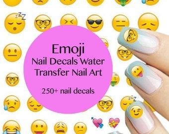 250+ Emoji Nail Art - Emoji Water Transfer Nail Art - Emoji Nail Decal Nail Art - Emoji Nails (8 sheets)