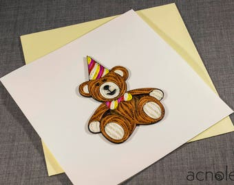 Quilled Birthday Teddy Bear