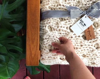PATTERN: Chunky Knit Campfire Sweater Blanket Pattern Download for Beginning Knitters | Knitting Pattern Download | Blanket Knitting Pattern