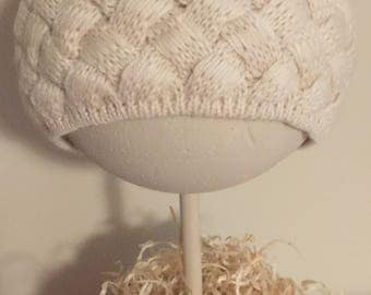 Wool Baby Toddler knitted cap with cony fur ball