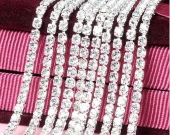 3A Class 3mm/4mm Clear Rhinestone Diamante Silver Plated Chain for Wedding Supplies DIY Sewing Craft Jewellery Making Party Decorations