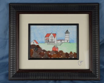 Nubble light house, York Maine, Cape neddick light, seaglass art, 10.5in x 12.5in framed seaglass, coastal decor, beach house, pen and ink