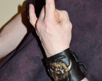 Leather bracelet cuff Mens bracelet leather Men cuff bracelet Steampunk cuff Steampunk bracelet Leather wristband Post apocalyptic Cyberpunk