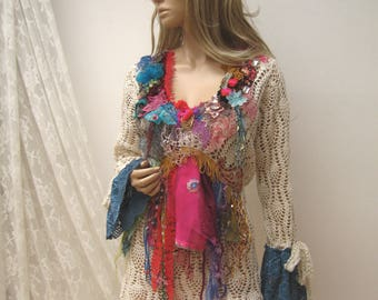 Upcycled Cotton Openwork Sweater, textil art clothes, reworked, upcycled clothing, Art to wear, wearable art clothing, boho, gypsy
