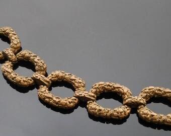 Vintage Les Bernard Bracelet   Chunky Bracelet   Pirate Bracelet   Pirate Jewelry   Nugget Bracelet   Aged Gold Bracelet