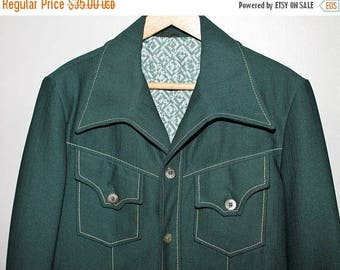 SALE Vintage 70s Mod Forest Green Leisure Suit Jacket Blazer Polyester Knit Wide Lapel Anchor Man Sportcoat Disco 38 Chest