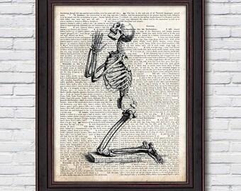 Skeleton Dictionary, Skeleton Artwork, Skull Poster, Medical School Decor, Dictionary Print - DI047