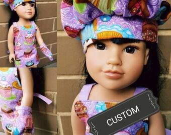CUSTOM dolls dressup chef set 18 inch doll accessory hat oven mitt apron