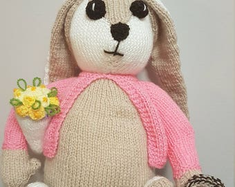 Knitted Easter bunny rabbit decoration gift present knitting