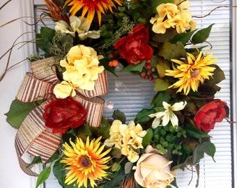 Fall Grapevine Wreath, Fall Wreath, Autumn Floral Wreath, Fall Floral Wreath, Harvest Wreath, Fall Floral Grapevine Wreath