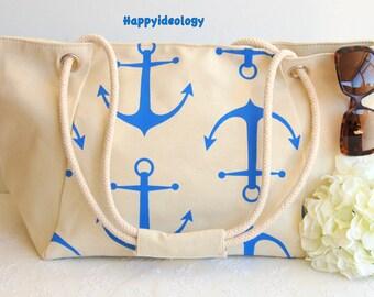 Nautical Large Beach Bag. Anchor Print Beach Bag/Tote.Canvas Large Tote Bag. Blue and White Anchor Bag.Nautical Purse