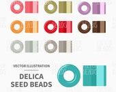 Vector Clipart Set of Miyuki Delica Beads - Digital Beads - Instant Download
