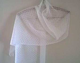 wedding shawl/ wedding stole/ wedding wrap/ wedding scarf/ white lace shawl/ white lace wrap/ white lace stole