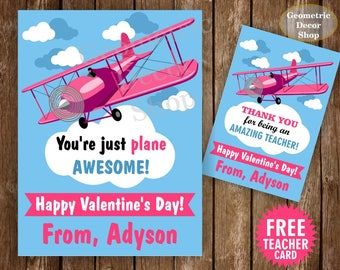Airplane / Plane / Pink / Teal / Blue / Girl / Fly / Valentine / Card / Valentines / Valentine's / Day / Personalized Tags / teacher /Card62