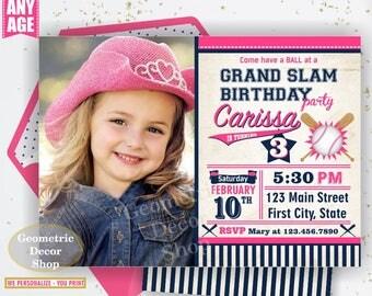 Birthday invitation Vintage Baseball Sports Invite 1st 2nd 3rd any age All star invitations Ball pink blue invites girl photo photograph P26