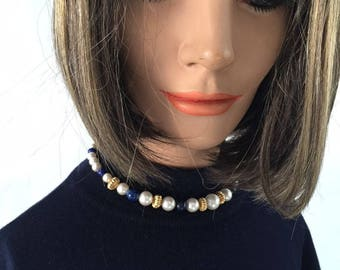 Vintage Navy Blue Plastic Beaded With Faux Pearls and Gold tone Choker/ Necklace  Prom, Dress -up