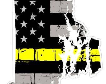 Rhode Island State (E40) Thin Yellow Line Dispatch Vinyl Decal Sticker Car/Truck Laptop/Netbook Window