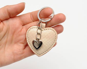 Heart key chain Leather Keyring Leather Key Ring Beige Heart Key Fob Valentines day gift|for|her Heart Bag Charm Bag Accessories Coin Charm