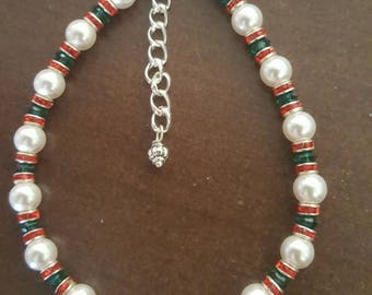 Red, Green, and White Swarovski Pearls Beaded Bracelet with Lobster Claw Closure and Extender - Great Addition to That Holiday Outfit!!