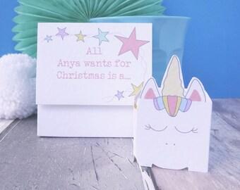 Christmas Card for a Unicorn Lover - Unicorn Christmas Card - Unicorn Keepsake Christmas Card - Unicorn Xmas Card - Unicorn Christmas Gift