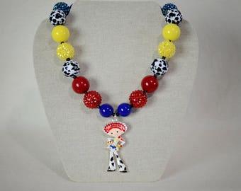Jessie Rhinestone Pendant Girl's Chunky Bubblegum Bead Necklace Toy Story