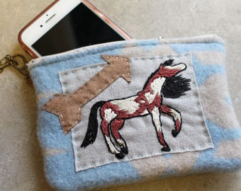 Hand Embroidered Folk Art Wristlet-Wild and Free Paint-Made with Pendleton Wool-Cell Phone-Money Holder