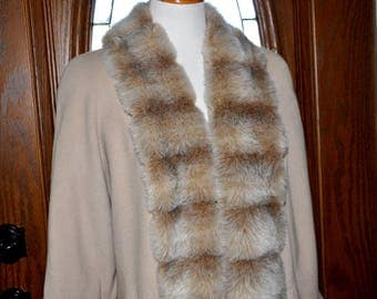 Vintage Putty Wool Full Length Dress Coat With Faux Fur Lapels, Wool Dress Coat, Cream Wool Coat, Full Length Wool Coat, Wool and Fur Coat