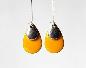 Earrings ° Sequin enamelled Yellow Sun)