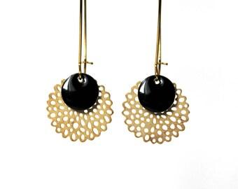 Earrings ° Sequin enameled (black)