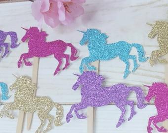 12 Glitter Unicorn  Cupcake Toppers