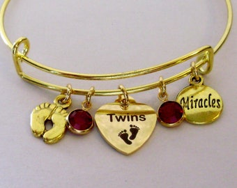 TWINS Gold Heart Charm /  Baby Feet  / Miracles charm Bangle  W/ Birthstones / New Mothers / Gift For Her Usa TW1