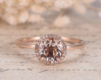 7mm Round Cut Pink Morganite Ring,Morganite Engagement Ring,Morganite Halo Ring,Morganite Wedding Ring in Solid 14k Rose Gold