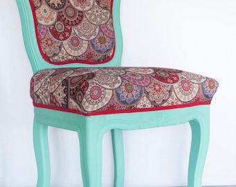 Handmade painted chair, Vintage blue chair, Tartan chair