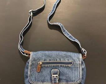 Vintage 80's Blue Denim Crossbody Bag